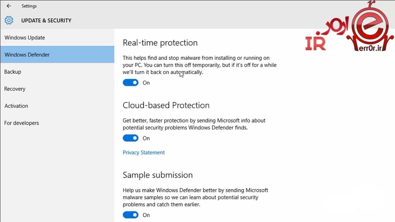 غیر فعال سازی Windows Defender در Windows 10