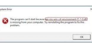 api-ms-win-crt-environment-l1-1-0.dll error