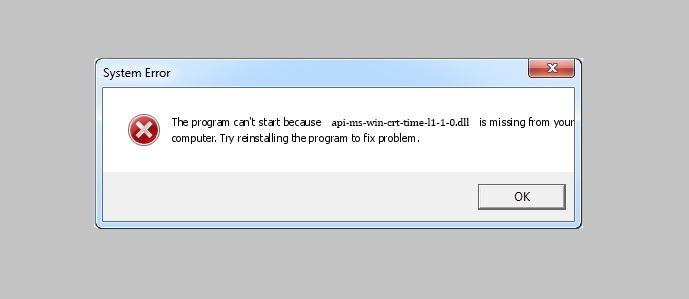 api-ms-win-crt-time-l1-1-0.dll error