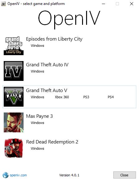 محیط نرم افزار openiv
